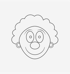 happy clown face flat black outline design icon vector image