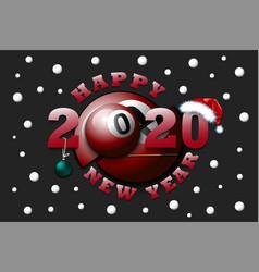 Happy new year 2020 and billiard ball vector