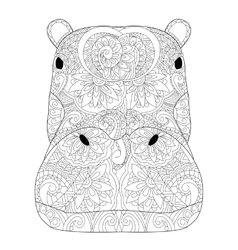 Head hippopotamus coloring for adults vector
