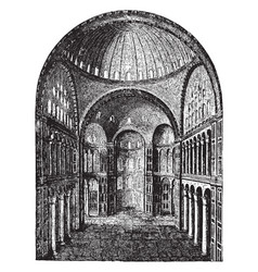Interior of hagia sophia pillars vintage engraving vector