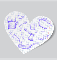 Kitchen utensils is drawn on a paper heart doodle vector