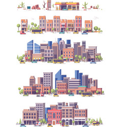 low poly 2d city scenes vector image