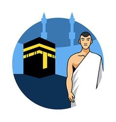 Man Hajj And Kaaba Background vector
