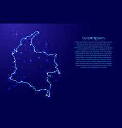 Map colombia from the contours network blue vector