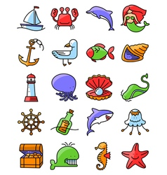 marine and nautical icons set vector image