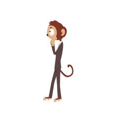monkey businessman cartoon characte funny animal vector image