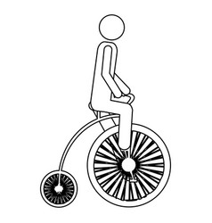 Monochrome contour pictogram of man in penny vector