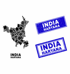 Mosaic haryana state map and grunge rectangle vector