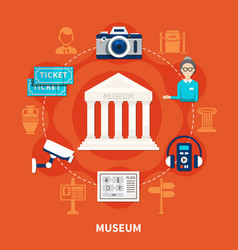 Museum flat icons set vector