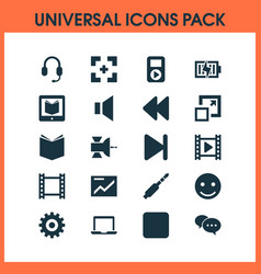 music icons set with video rewind mute and other vector image