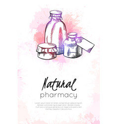 Natural pharmacy vertical card with sketch neon vector