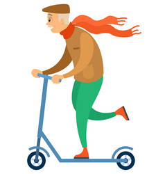 old hipster man riding scooter grandfather sport vector image