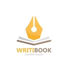 Pen and book logo concept vector