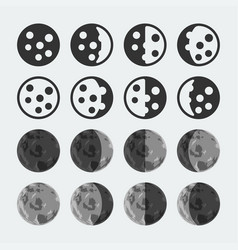 Phases moon icons set vector