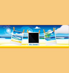 Photos against background seascape vector