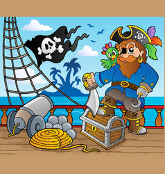 pirate ship deck theme 2 vector image