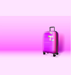 plastic suitcase on violet background copyspace vector image