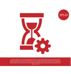 Red hourglass and gear icon isolated on white vector