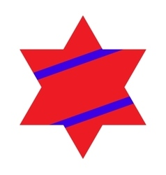 Red Jewish Star with Blue Stripes on White vector