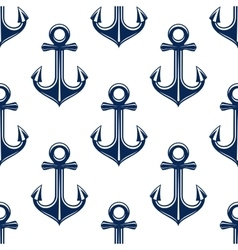 Retro anchors blue seamless pattern vector image