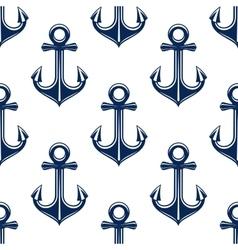 Retro anchors blue seamless pattern vector