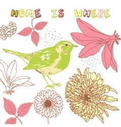 Retro Home Birds Background vector image