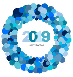 ring of blue circles and the inscription 2019 vector image