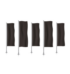row of black vertical banner flags vector image