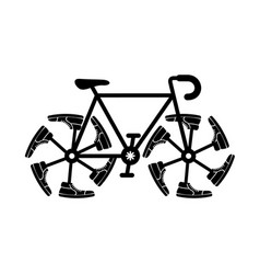running shoes on bike wheel simple ride icon vector image
