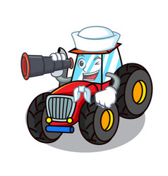 Sailor with binocular tractor mascot cartoon style vector