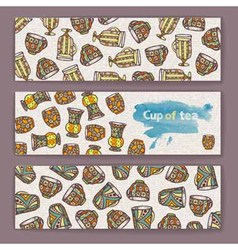 set banners with decorative cup coffee vector image