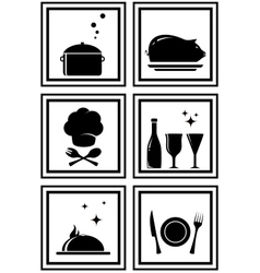 set black restaurant icons vector image