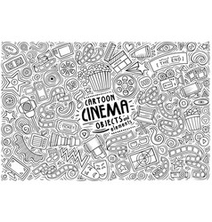 set cinema theme items objects and vector image