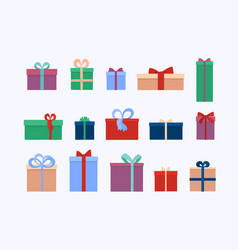set different gift boxes and presents isolated vector image