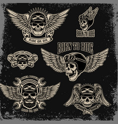 set emblems for biker club winged human skull vector image