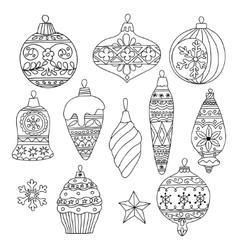set hand drawn christmas tree balls vector image