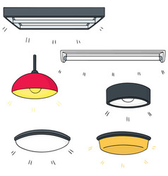 Set of ceiling lamp vector
