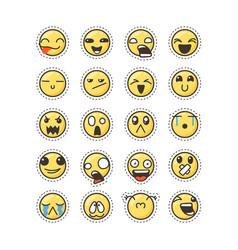 set of cute lovely kawaii emoticon sticker vector image vector image