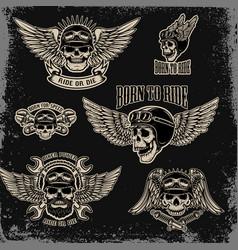 set of emblems for biker club winged human skull vector image