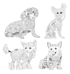Set of zentangle stylized dogs hand drawn lace vector
