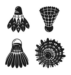 shuttlecock icons set simple style vector image