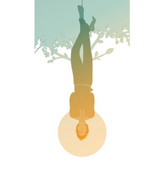 Silhouette hanged man from a tree face down vector
