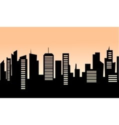 Silhouette of building at sunrise vector