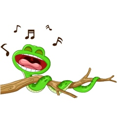 snake cartoon singing vector image