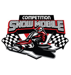 snow mobile competition badge design vector image
