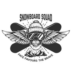 snowboarding squad extreme skull with snowboards vector image