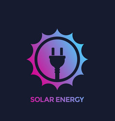 Solar energy icon sun and electric plug vector