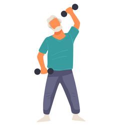 sportive senior man training with dumbbells vector image