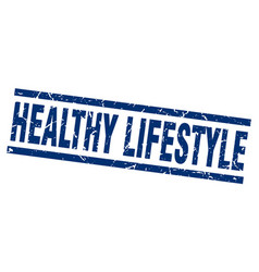 Square grunge blue healthy lifestyle stamp vector