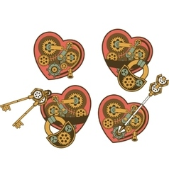 Steampunk mechanism heart vector image vector image